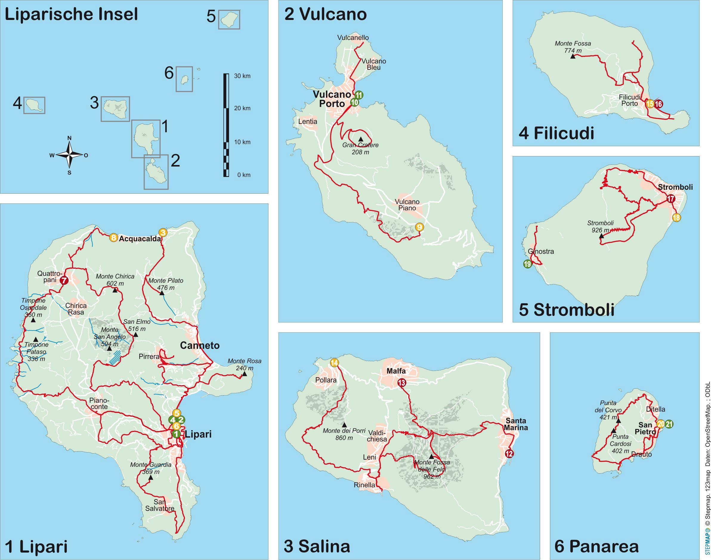 Liparische Inseln (21 Wanderungen)