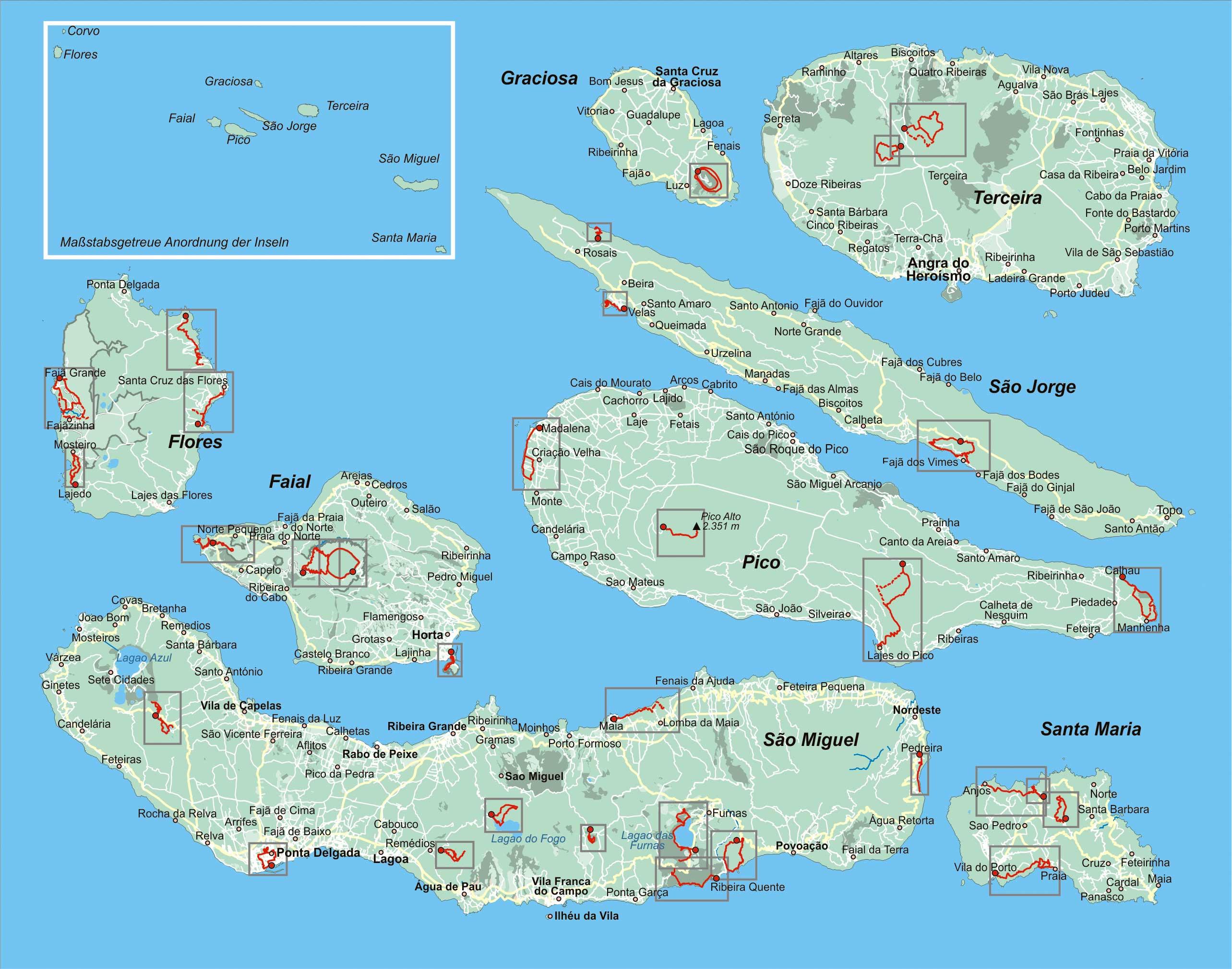 Azoren Karte.Azoren 33 Wanderungen