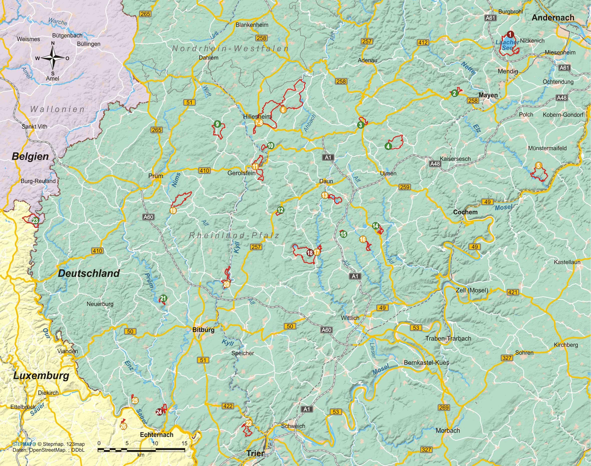 Eifel Süd 26 Wanderungen zwischen Felsen und Wäldern