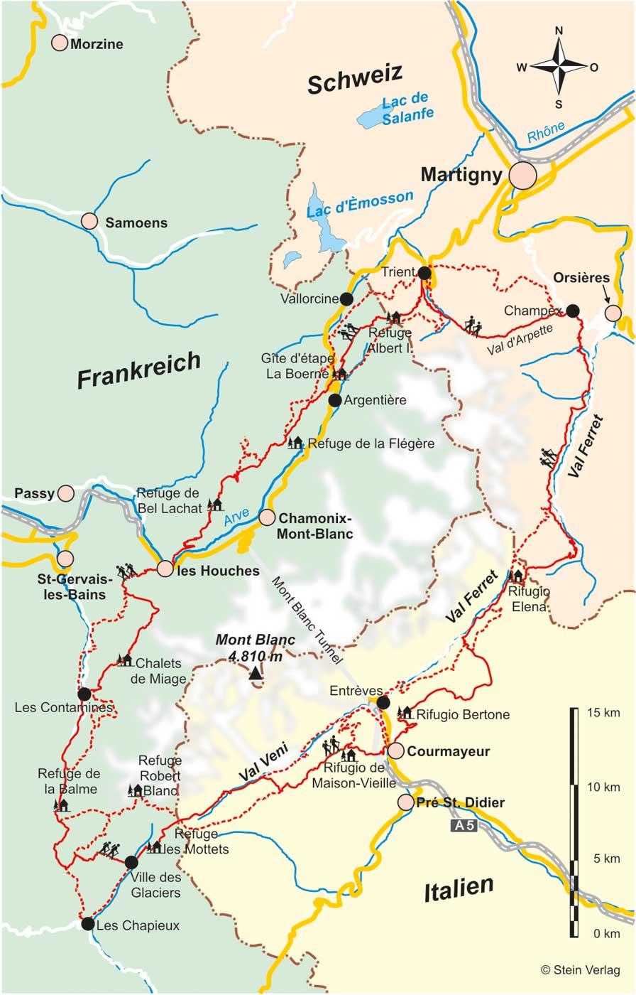 Karte Italien Frankreich.Frankreich Schweiz Italien Montblanc Rundweg Tmb