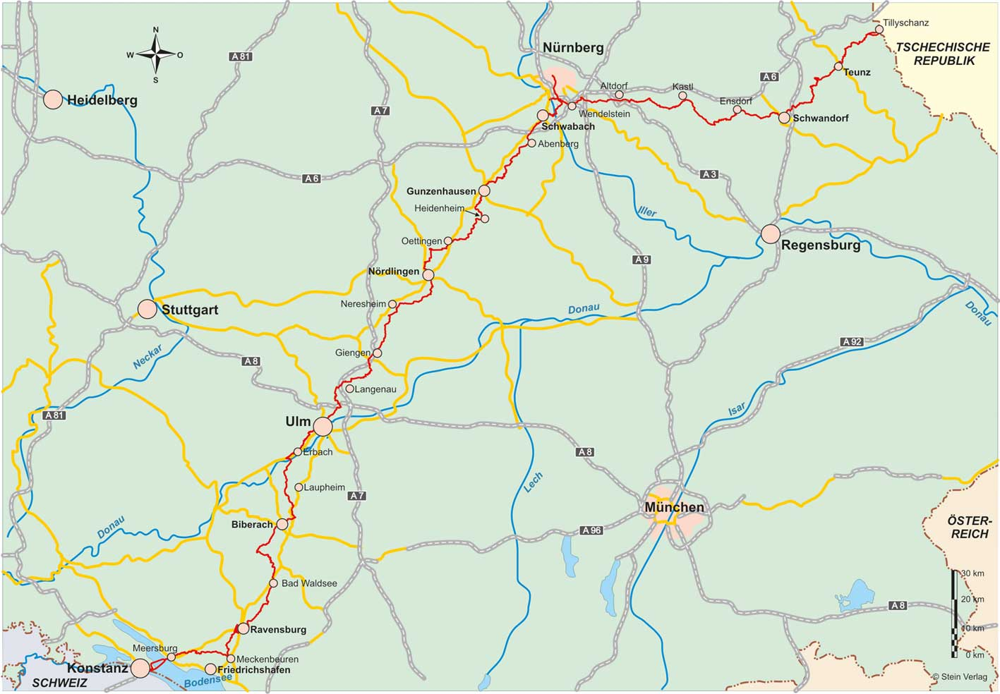 Jakobsweg Franken Karte.Jakobsweg Vom Oberpfälzer Wald Zum Bodensee