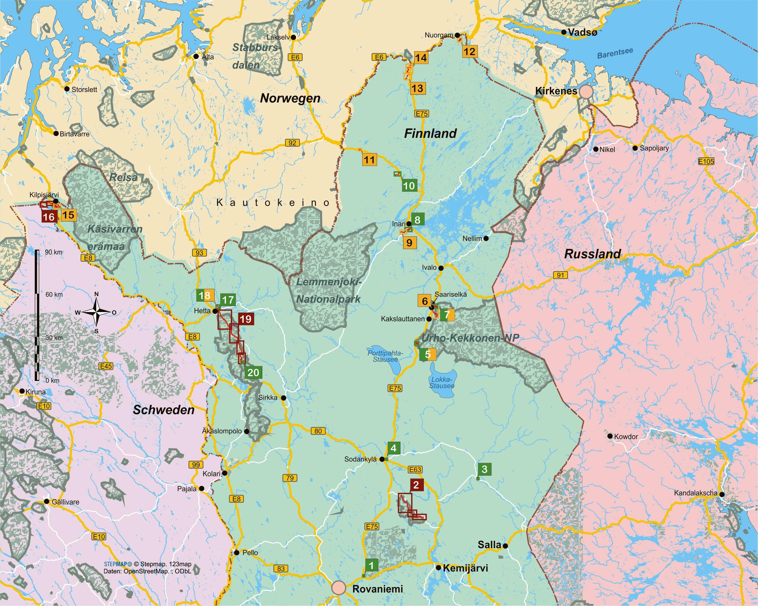 Finnisch-Lappland (20 Wanderungen und Spaziergänge)