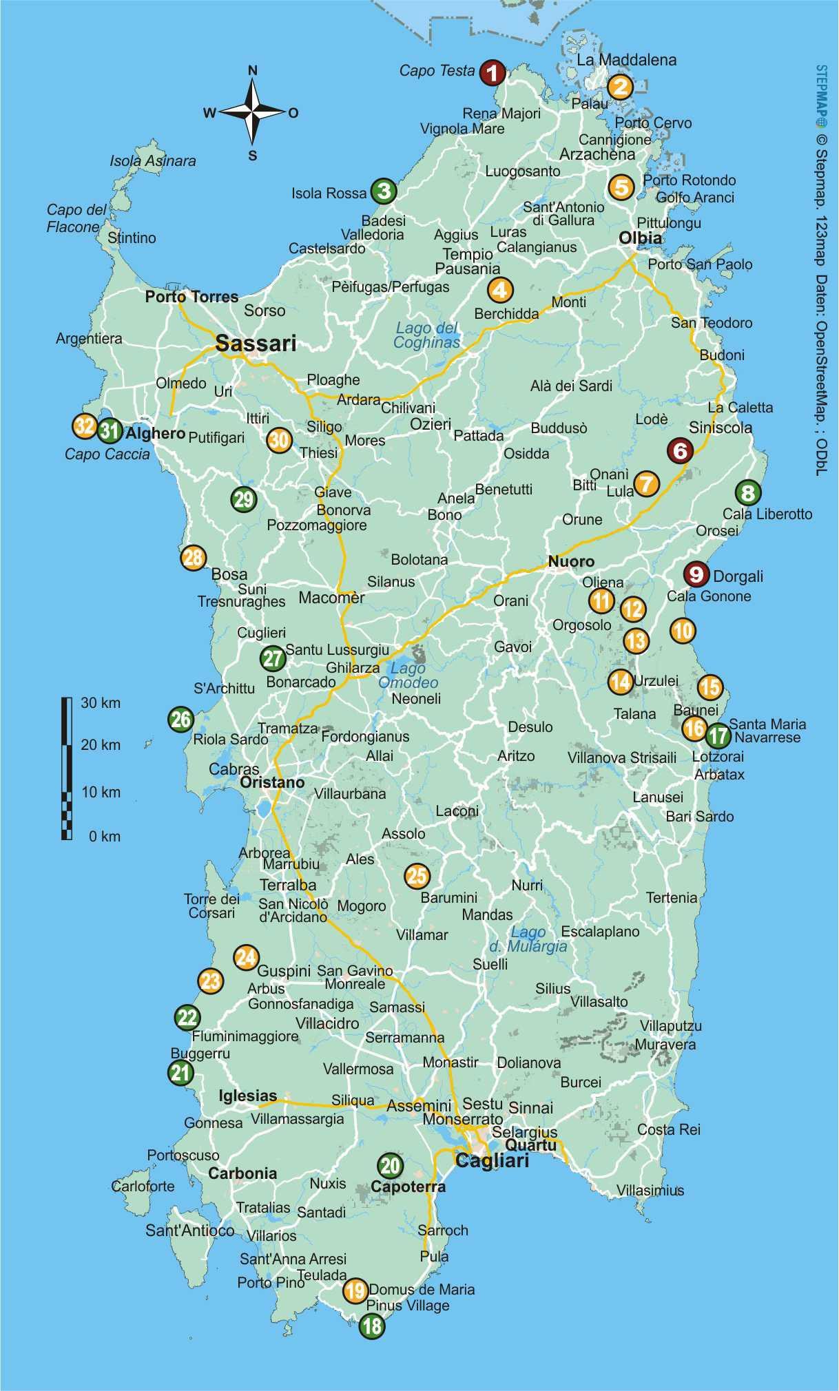 Sardinien (32 Wanderungen)