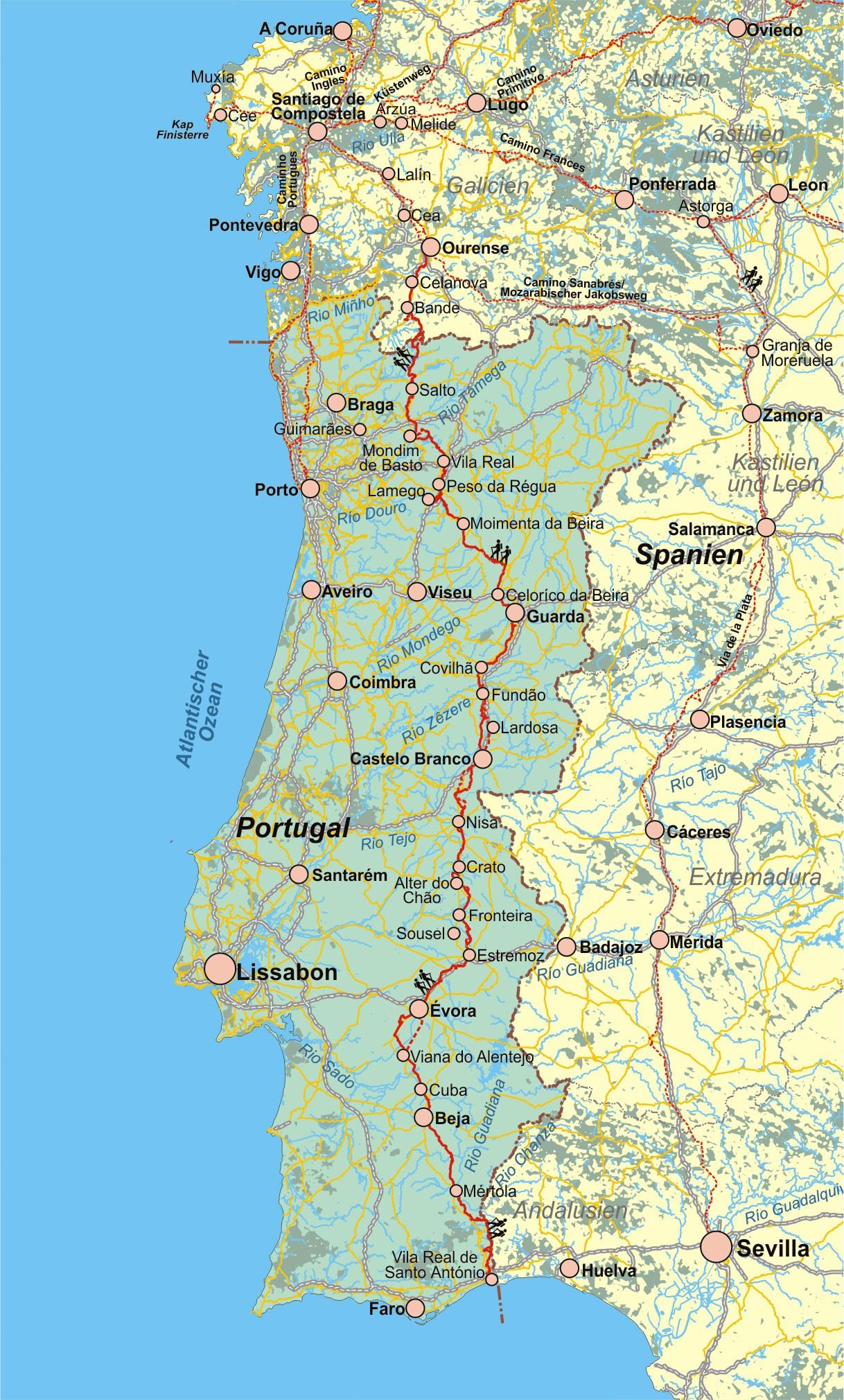 Karte Andalusien Portugal.Portugal Spanien Jakobsweg Ostportugal Via Lusitana