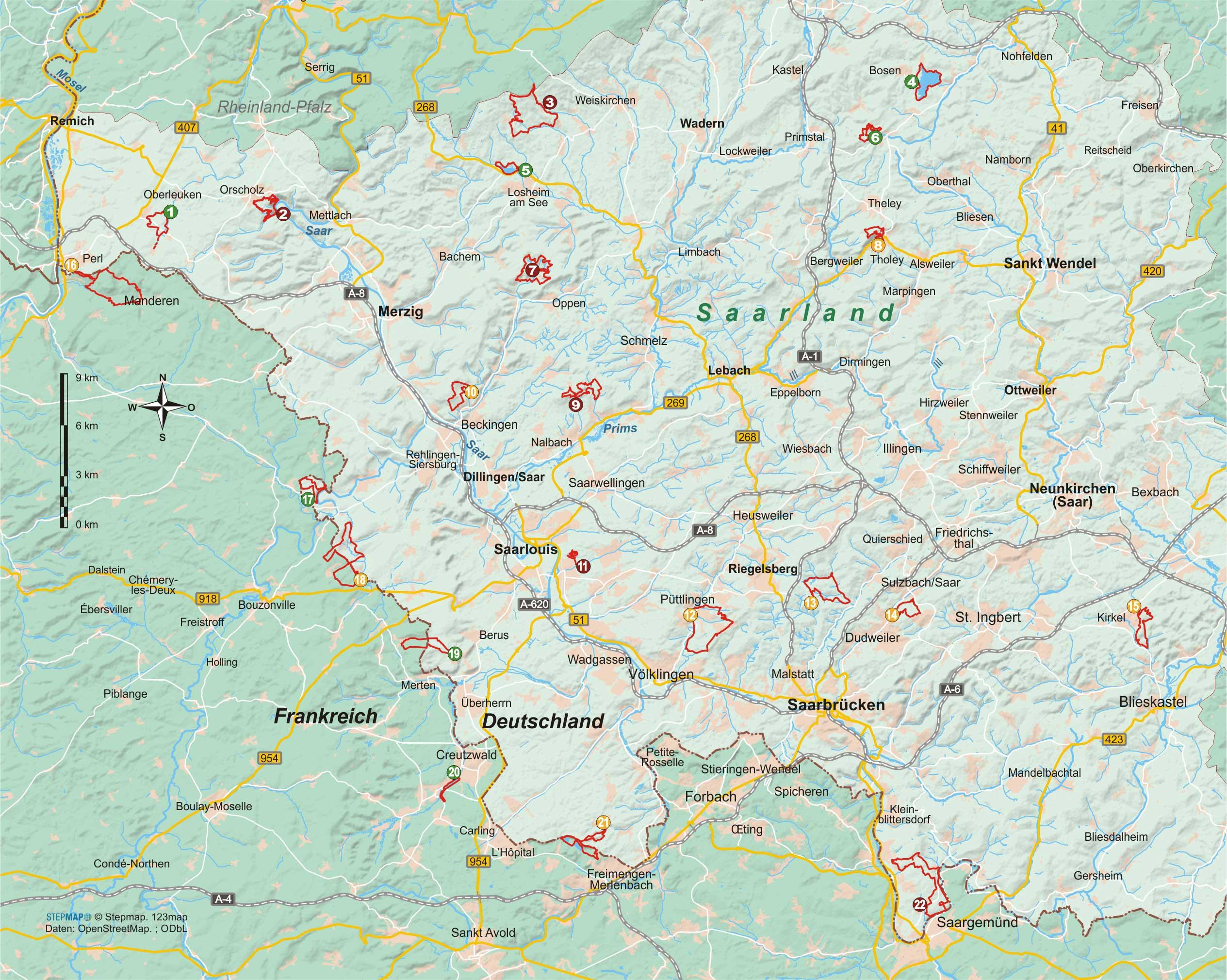 Saarland 22 Wanderungen in Natur- und Kulturlandschaften