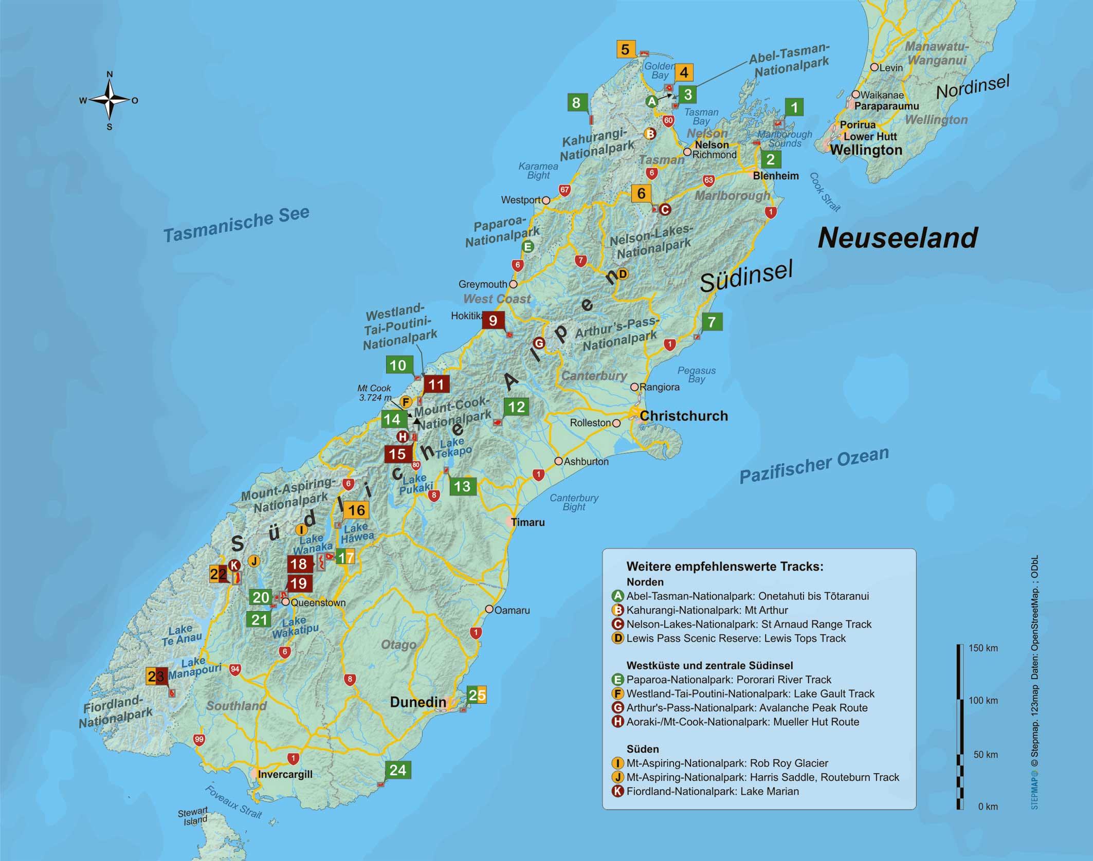 Neuseeland Südinsel 25 Wanderungen zwischen Bergen, Buchten und Regenwald