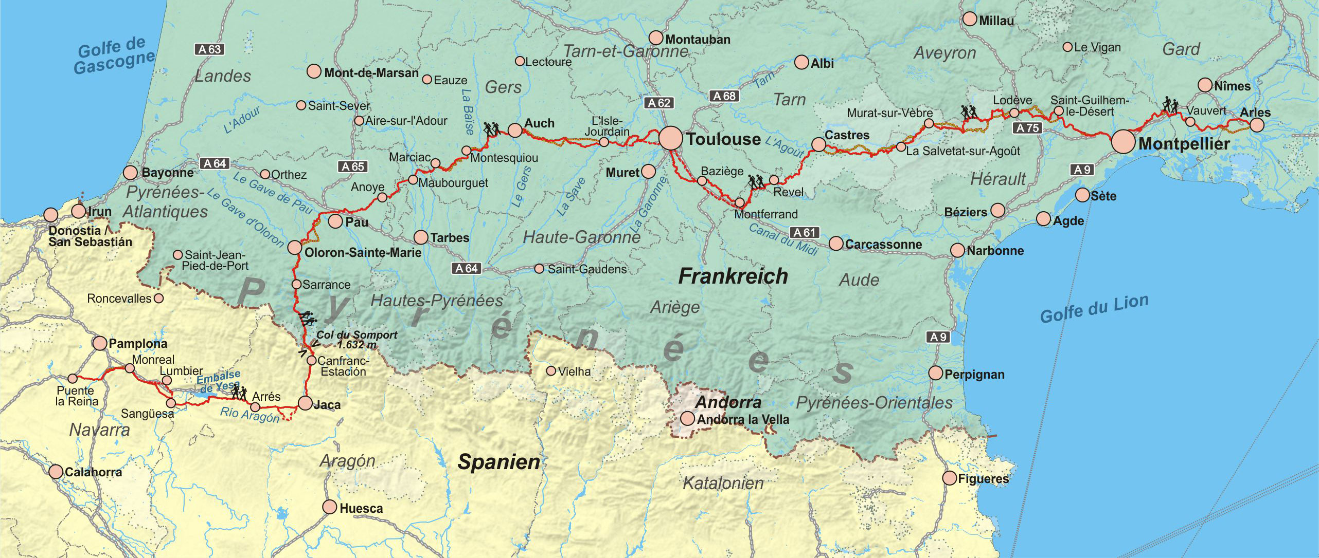 Frankreich: Jakobsweg Via Tolosana mit Camino Aragonés, Spanien