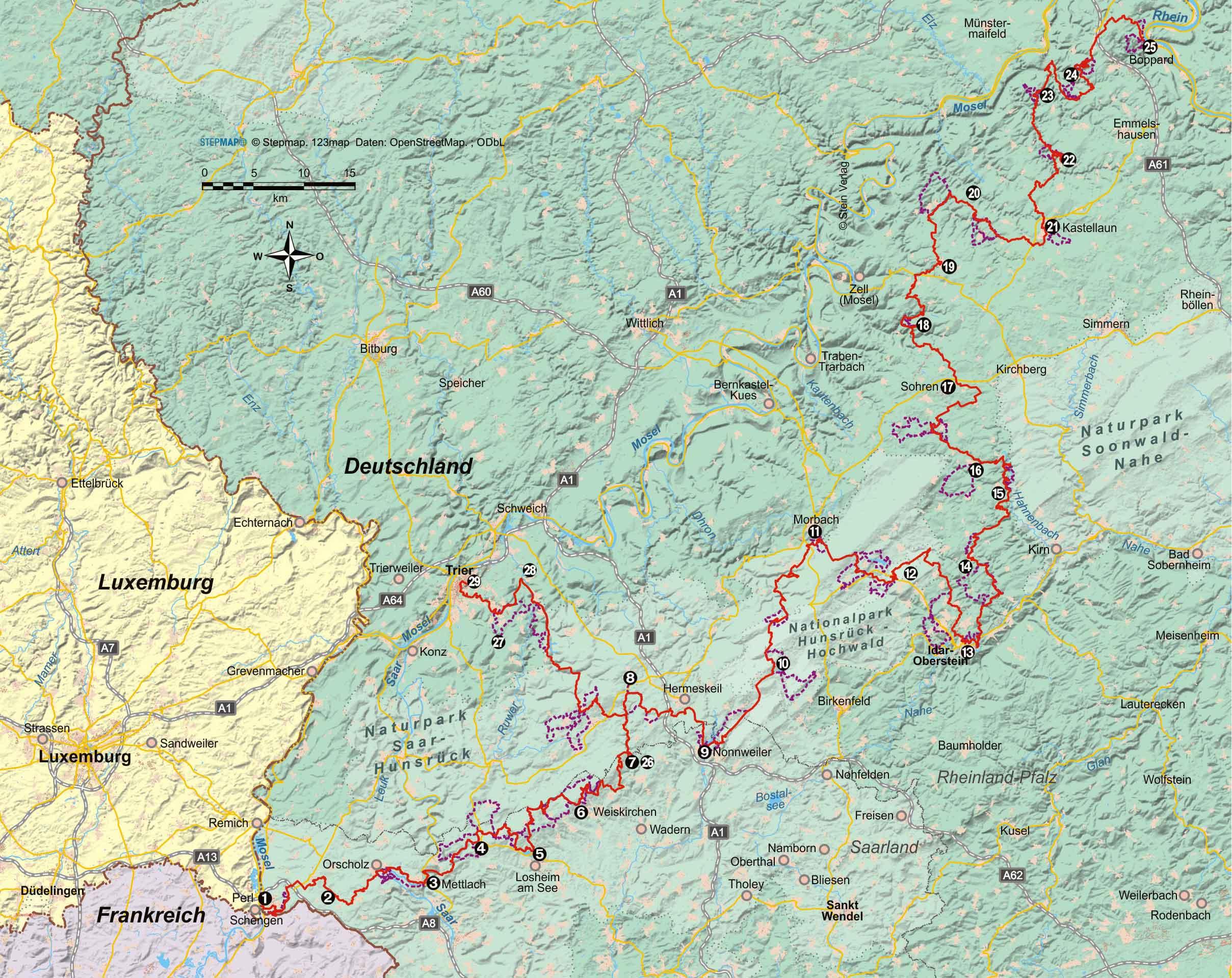 Saar-Hunsrück-Steig von Perl (über Idar-Oberstein) nach Boppard