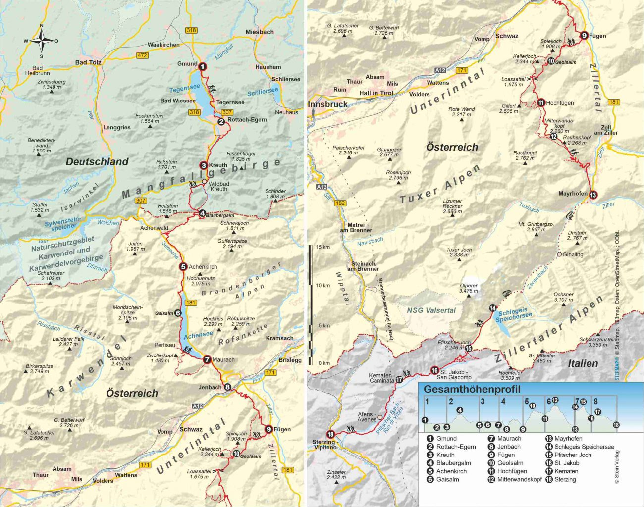 Wanderführer Tegernsee – Sterzing - Fernwanderweg