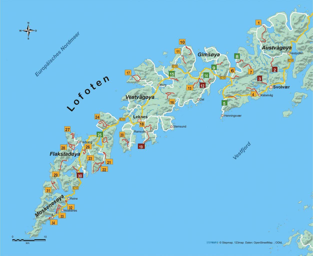 Lofoten 34 Wanderungen zu Fjorden und Gipfeln