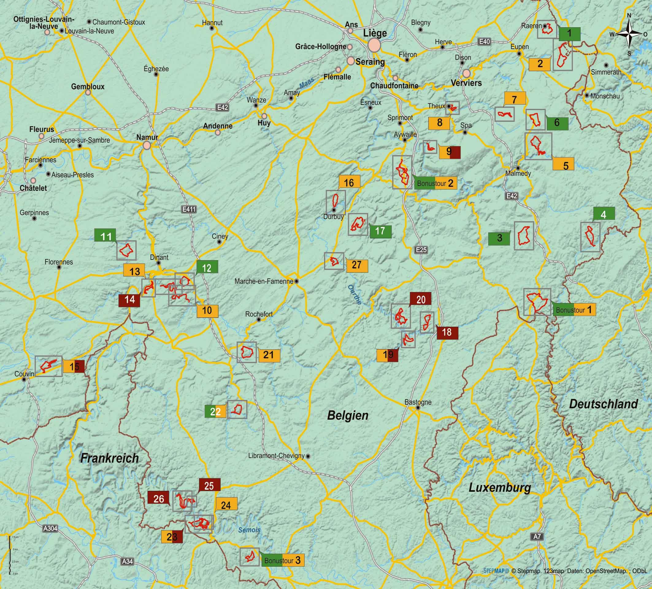 Wanderführer Belgische Ardennen - 27 Tageswanderungen