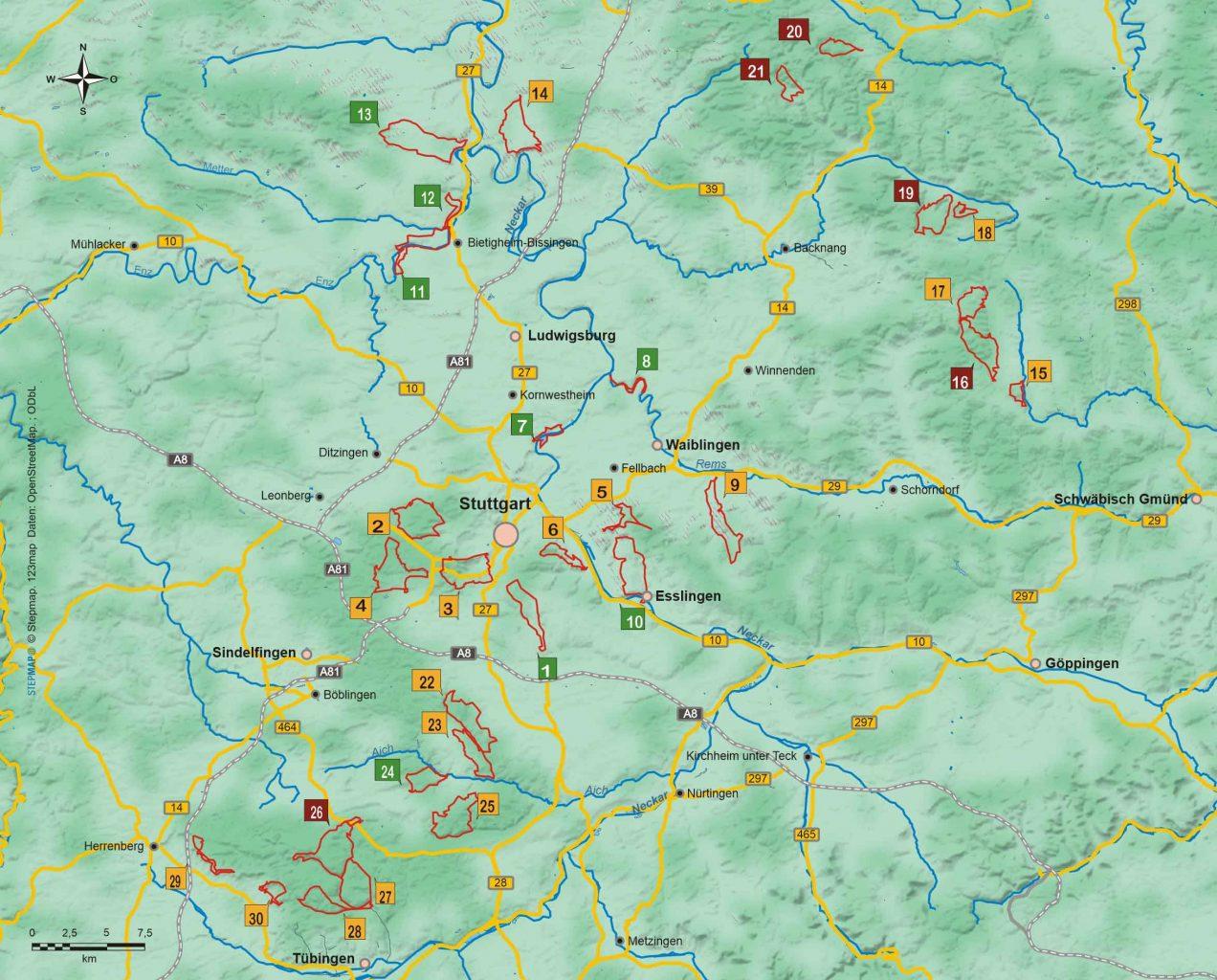 Wanderführer Stuttgart - 30 Tageswanderungen